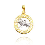 14K Yellow Gold & Rhodium Greek Key Leo Zodiac Pendant