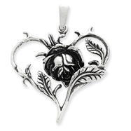 Sterling Silver Antiqued Rose Heart Pendant