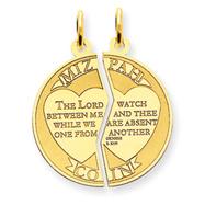 14K Gold Mizpah Charm