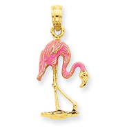 14K Gold Enameled Flamingo Pendant