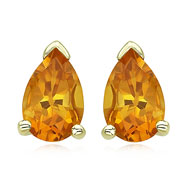 14K Yellow Gold Pear-Shaped Citrine Prong Set Studs