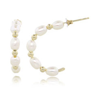 14K 4.5-5mm Freshwater Cultured Pearl C-Hoop Earrings