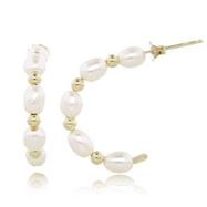 14K 4.5-5mm Freshwater Cultured Pearl C-Hoop Earrings