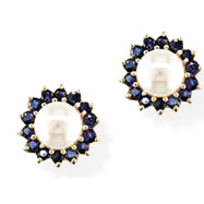 14K 7-7.5mm Cultured Pearl & 1.4ct Sapphire Floral Earrings