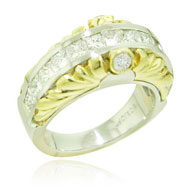 18K Two-Tone Gold Diamond Designer Ring