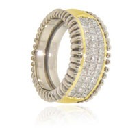 14K Two-Tone Gold Designer Diamond Ring