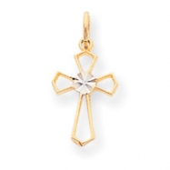 10k Yellow & Rhodium Cross Charm