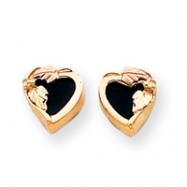 10k Black Hills Gold Onyx Heart Earrings