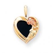 10k Black Hills Gold Onyx Heart Pendant