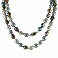 "Sterling Silver 9.5-10.5mm Dyed Blue/blk/gry Freshwater Pearl 36"" Necklace"