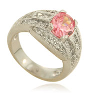 Sterling Silver Fancy Pink and White CZ Ring