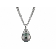 "Sterling Silver 11-12mm Tahitian Pearl Pendant 18"" Necklace"