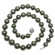 14K White Gold 10-12.5mm Natural Color Tahitian Necklace