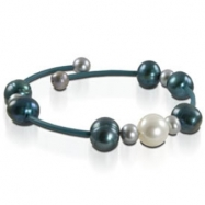 White, Dyed Turq & Grey Freshwater Pearl Rubber Bracelet