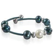 White, Dyed Turq & Grey Freshwater Pearl Rubber Bracelet