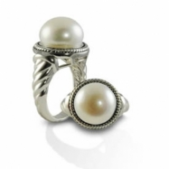 Sterling Silver Oxidized 12.5-13mm Button Freshwater Pearl Ring