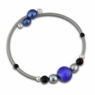 White, Dyed Grey & Blue Freshwater Pearl & Bo Rubber Bracelet