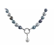 "Sterling Silver 9.5-10.5mm Dyed Blue,blk, Grey Freshwater Pearl & Diamond Clasp 18"" Necklace"