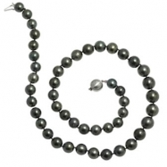 """14K White Gold 18"""" """"AB"""" Quality Pearl 8-10.5mm Natural Color Tahitian Necklace"""