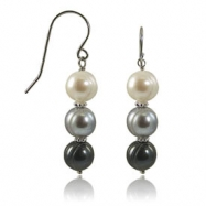 Sterling Silver 8-9mm White, Dyed Black & Grey Freshwater Pearl Earrings