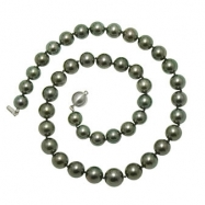 "14K White Gold 18"" ""A+"" Quality Pearl 10-12.5mm Natural Color Tahitian Necklace"