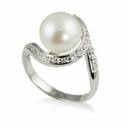 14K White Gold 10-11mm Freshwater Pearl & Diamond Ring