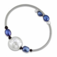 White, Dyed Blue Freshwater Pearl & Bo & Glass Bd Rubber Bracelet