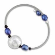 White, Dyed Blue Freshwater Pearl & Bo & Glass Bd Rubber Bracelet