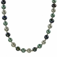 "Sterling Silver 9.5-10.5mm Dyed Bbg Freshwater Pearl 18"" Necklace"