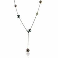 "Sterling Silver 21"" Multi Color Tahitian Pearl Lariat"
