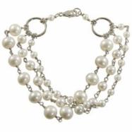 "3str Sterling Silver Freshwater Pearl 8"" Bracelet"