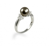 14K White Gold 8-9mm Tahitian Pearl & Diamond Ring