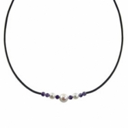 "White Freshwater Pearl & Amethyst Rubber 18"" Necklace"
