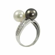 14K White Gold Tahitian & Freshwater Pearl & Diamond Ring