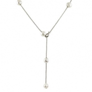 """9-10mm White Smart Pearl Lariat & Polished Clasp 30"""" Necklace"""