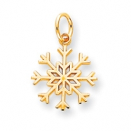 10k Solid Polished Snowflake Charm