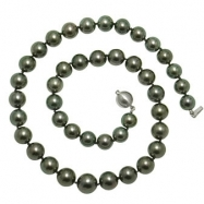 """14K White Gold 18"""" """"A+"""" Quality Pearl 9-11.5mm Natural Color Tahitian Necklace"""