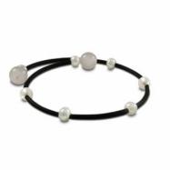 Rubber Bracelet & Wht Freshwater Pearl & Rose Qtz