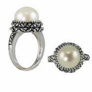 Sterling Silver Oxidized 11.5-12mm White Freshwater Pearl Ring