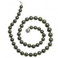 """14K White Gold 18"""" """"AA"""" Quality Pearl 8-10.5mm Natural Color Tahitian Necklace"""