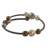 Dyed Chocolate,champ,gry Freshwater Pearl Rubber Bracelet