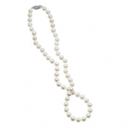 """14K White Gold 18"""" 7-7.5mm """"CROWN"""" Quality Freshwater Pearl Necklace"""