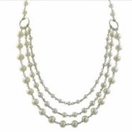 """+ 2.5"""" Sterling Silver Freshwater Pearl Bib Style 17"""" Necklace"""