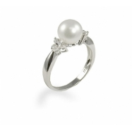 14K White Gold 7.5-8mm Cultured Pearl & Diamond Ring
