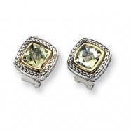 Sterling Silver w/14k Green Amethyst Earrings