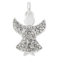 Sterling Silver With Whote Swarovski Crystal Angel Pendant