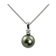 "14K White Gold 9-10mm Tahitian Pearl & .10cttw Diamond Pendant 18"" Necklace"