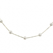 14K Freshwater Pearl Station Pearl Necklace & 2
