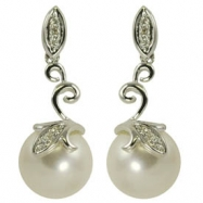 14K White Gold 9-9.5mm White Freshwater Pearl & Diamond Earrings