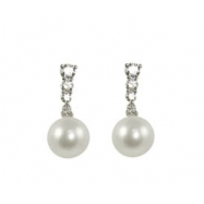 14K White Gold 7-7.5mm Freshwater Pearl & Diamond Earrings